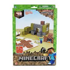 Minecraft Overworld Shelter Set Figuras Montáveis de Papel Adesivo BR148 - Multilaser