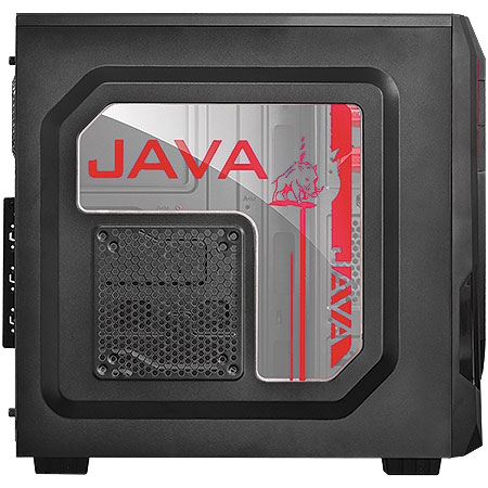 Gabinete Mid Tower Java com 1 Fan Vermelho lateral de acr�lico JAVAPTOVM2FCA 23585/24226 - Pcyes
