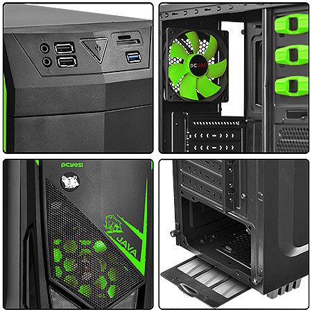 Gabinete Mid Tower Verde Lateral em Acrílico JAVAPTOVD2FCA 21497 - Pcyes