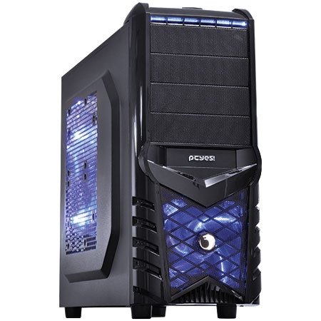 Gabinete Mid Tower Wolf grade Lateral com Fan de 20mm Led Azul WOLFPTOAZ3FSA 21491 - Pcyes