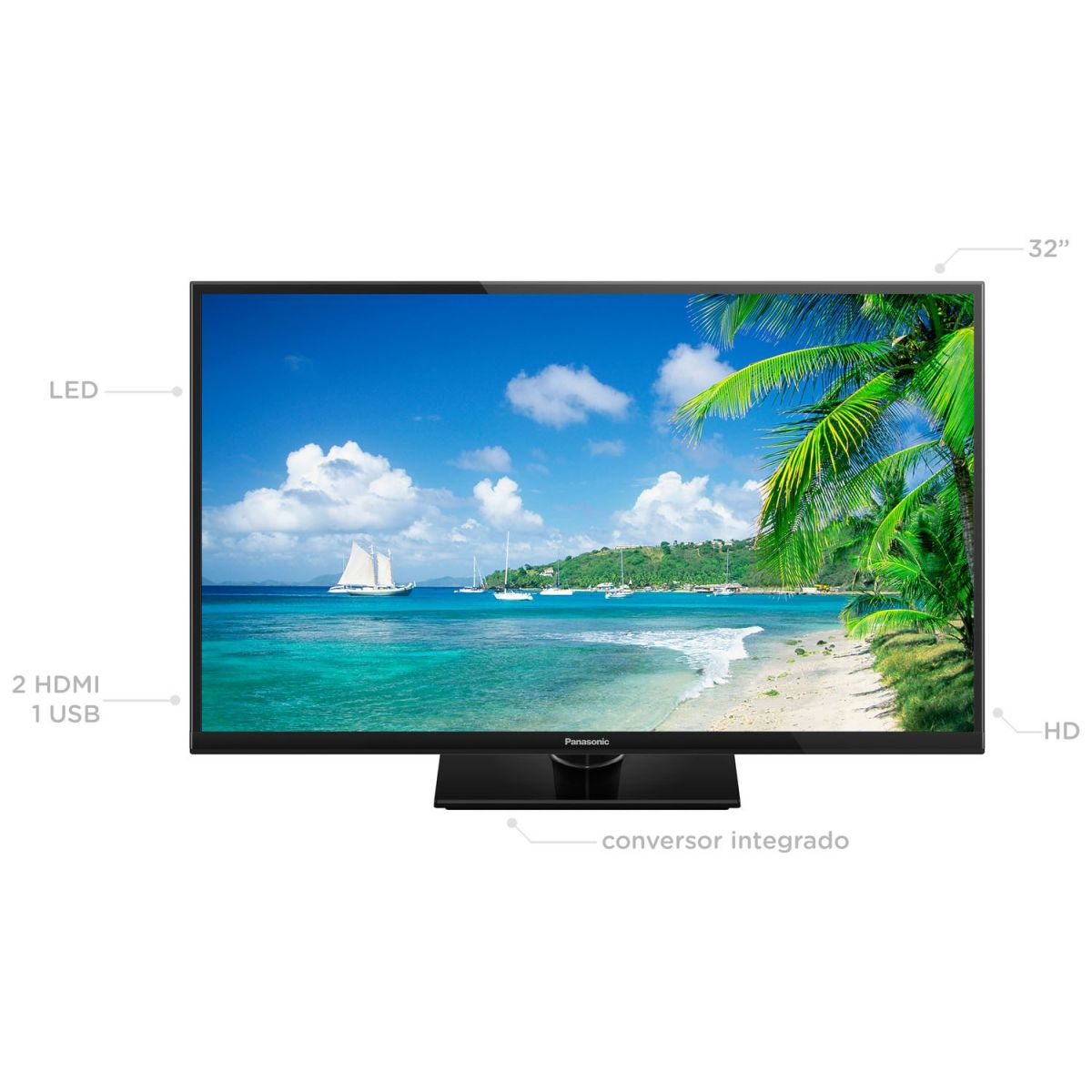 TV 32 LED HD TC-32A400B 2 HDMI, 1 USB, Media Player, Backlight Blinking, Painel IPS - Panasonic