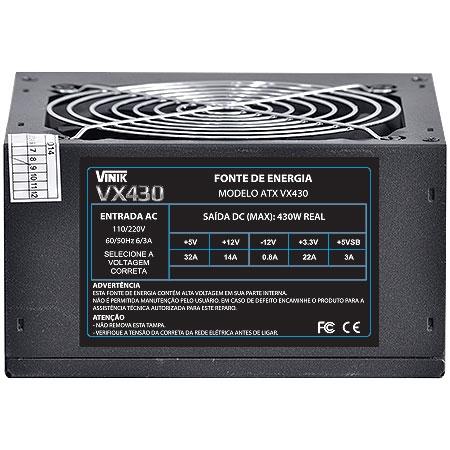 Fonte ATX 430W VX430 - Vinik