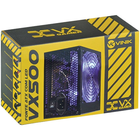 Fonte ATX 500W VX500 Gamer com Led Azul - Vinik