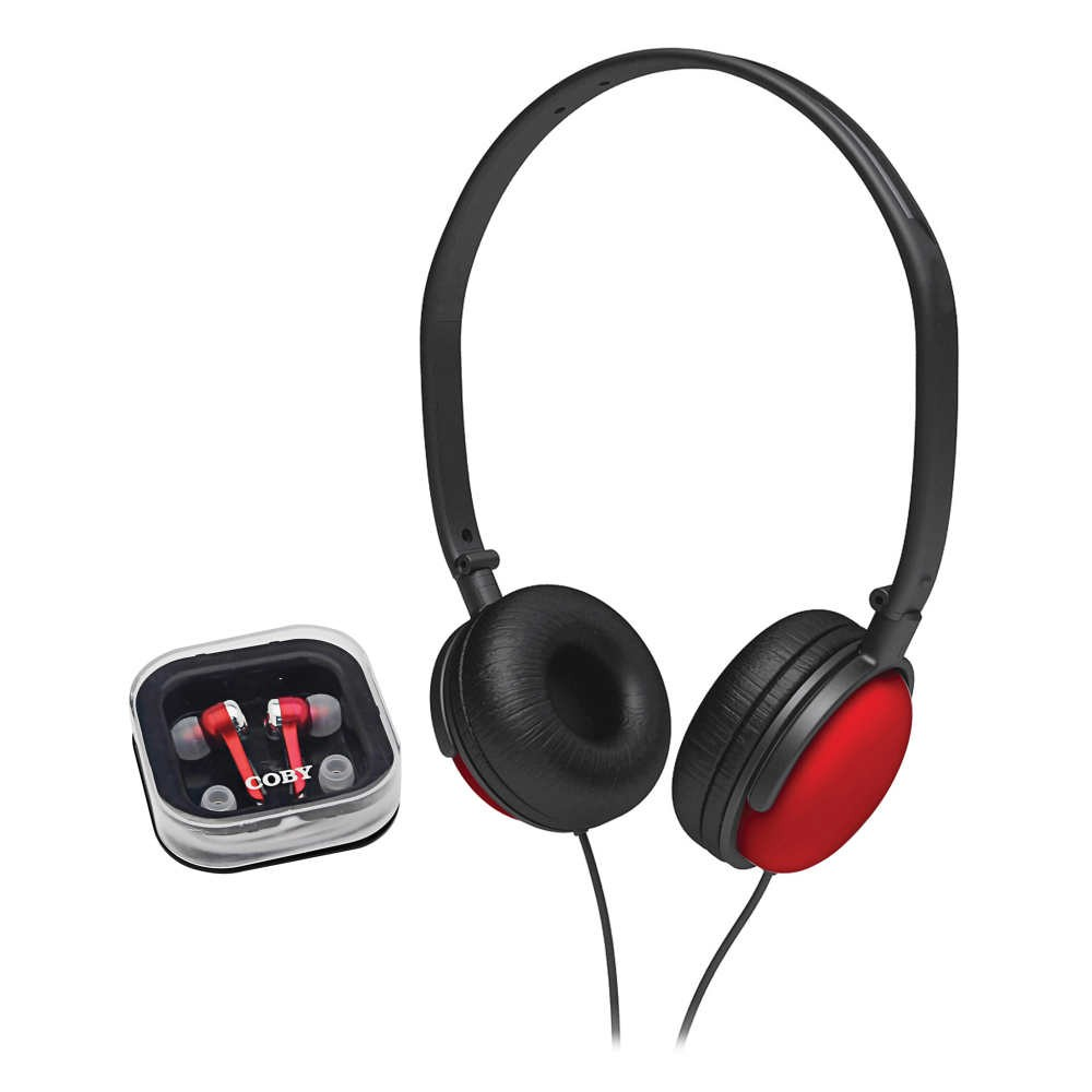 Fone de Ouvido Intra-Auricular Estereo + Headphone CV140 Vermelho - Coby