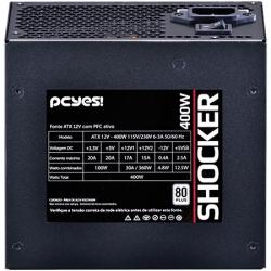 Fonte ATX 400W Shocker Series 80 Plus White (PFC Ativo) 24418 - Pcyes