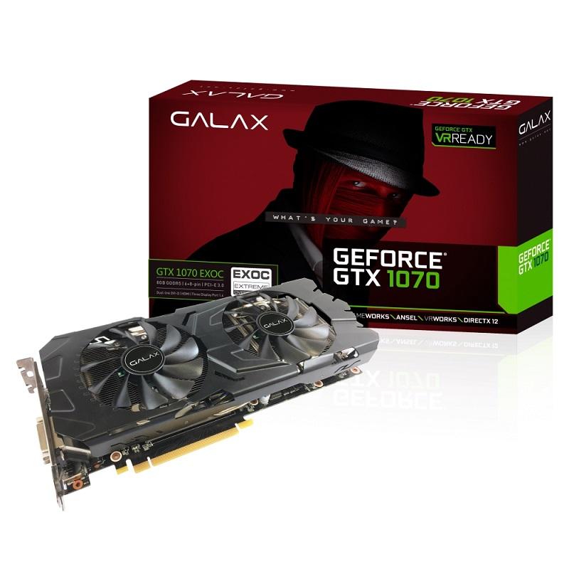 Placa de V�deo GTX 1070 EX OC 8GB GDDR5 70NSH6DHL-4EC - Galax