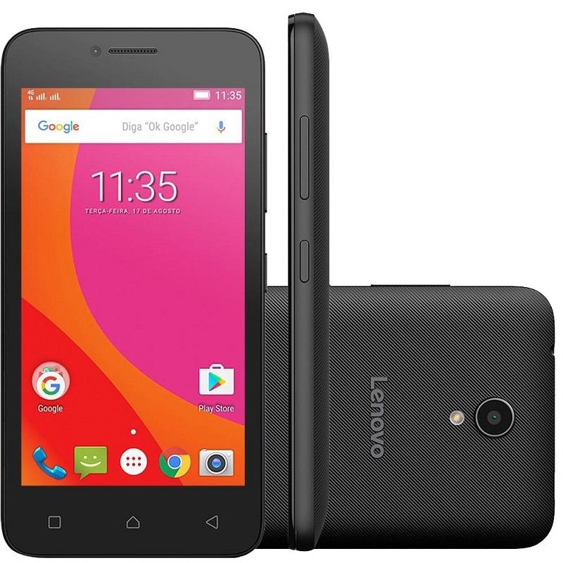Smartphone Vibe B, Quad Core , Android 6.0, Tela 4,5, 5MP, 8GB, 4G, Dual Chip, Preto A2016B30 - Lenovo