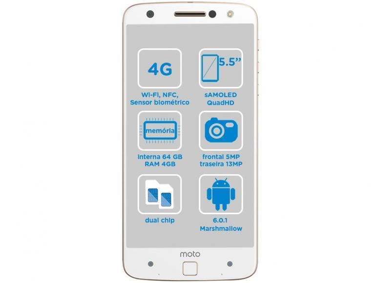 Smartphone Moto Z Power DC Edition 64GB Branco e Dourado Dual Chip 4G Câm. 13MP XT1650 - Motorola