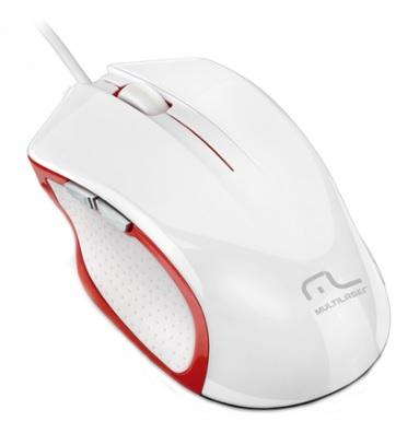 Mouse Gamer Laser Alta Performance USB 6 Botões MO202 Branco e Vermelho - Multilaser