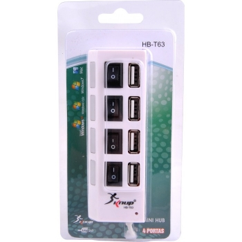 Hub USB 4 Portas C/Botao de Liga e Desliga HB-T63 Branco - KNUP