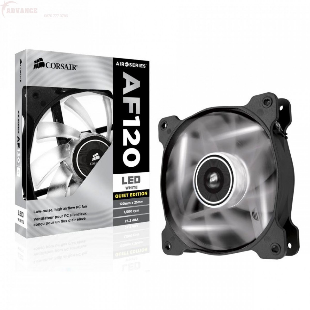 Cooler AIR Series AF120 Quiet Edition LED Branco 120mm CO-9050015-WLED - Corsair