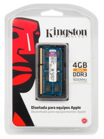 Memoria para Notebook 4GB 1600Mhz DDR3 SODIMM Apple KTA-MB1600/4GLR - Kingston