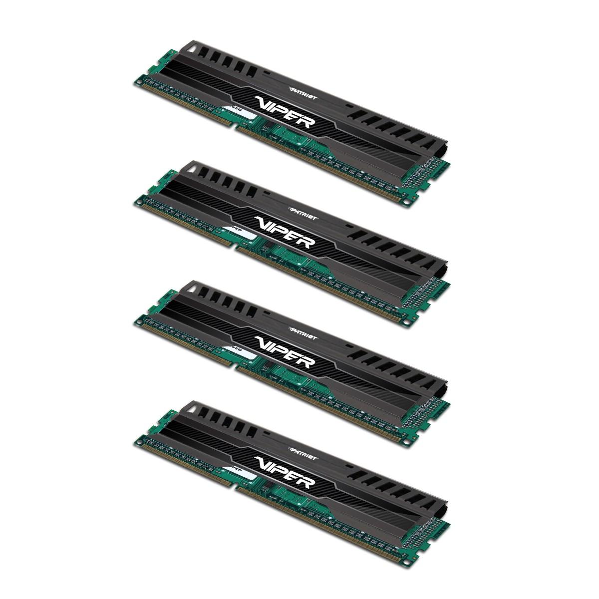Memoria Viper 3 Black Mamba 16GB (4 x 4GB) DDR3 1600MHz Quad Channel Memory Kit PV316G160C9QK - Patriot