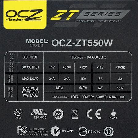 Fonte ATX 550W ZT550W-NP Series Modular (PFC Ativo) - OCZ