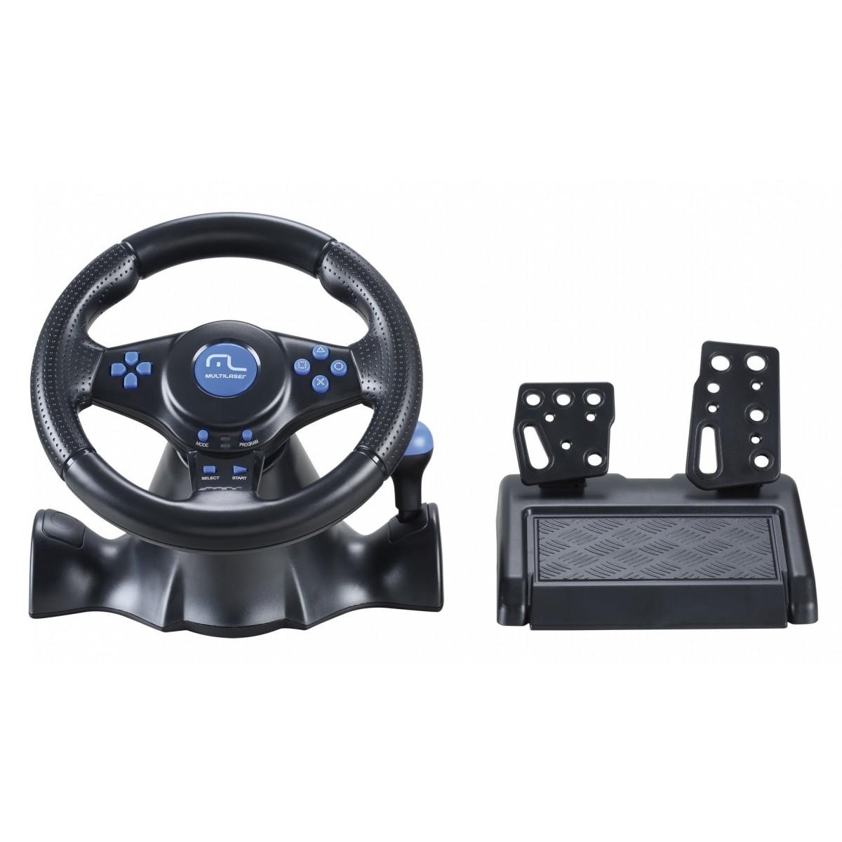 Volante Racer 3 em 1 para PS2, PS3 e PC JS073 Azul - Multilaser