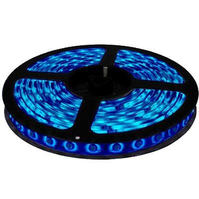 Fita Led Azul 5M - Tamanho dos Leds 3528 - 60 Leds Por Met Com Silicone e Fita Dupla Face + Adap - Alltech