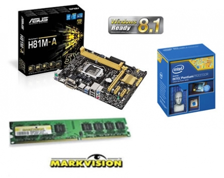KIT Intel Dual Core G3220 3.0Ghz 3MB + Placa Mae Asus H81M-A (S/V/R) + Memoria de 4GB DDR3 1333Mhz Markvision - Glacon