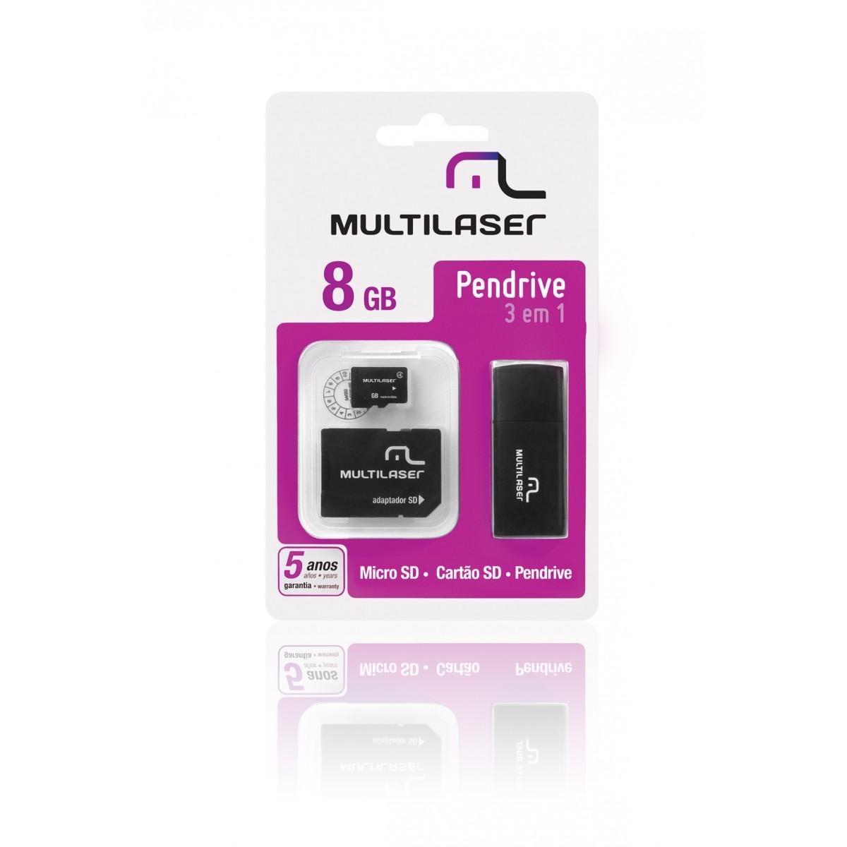 Cartao de Memoria 8GB Micro SD + Adaptador SD / USB MC058 - Multilaser