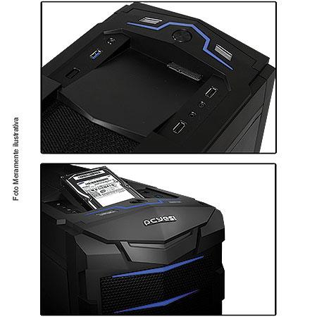 Gabinete ATX Gamer Horse LED Azul S/Fonte 18635 - Pcyes