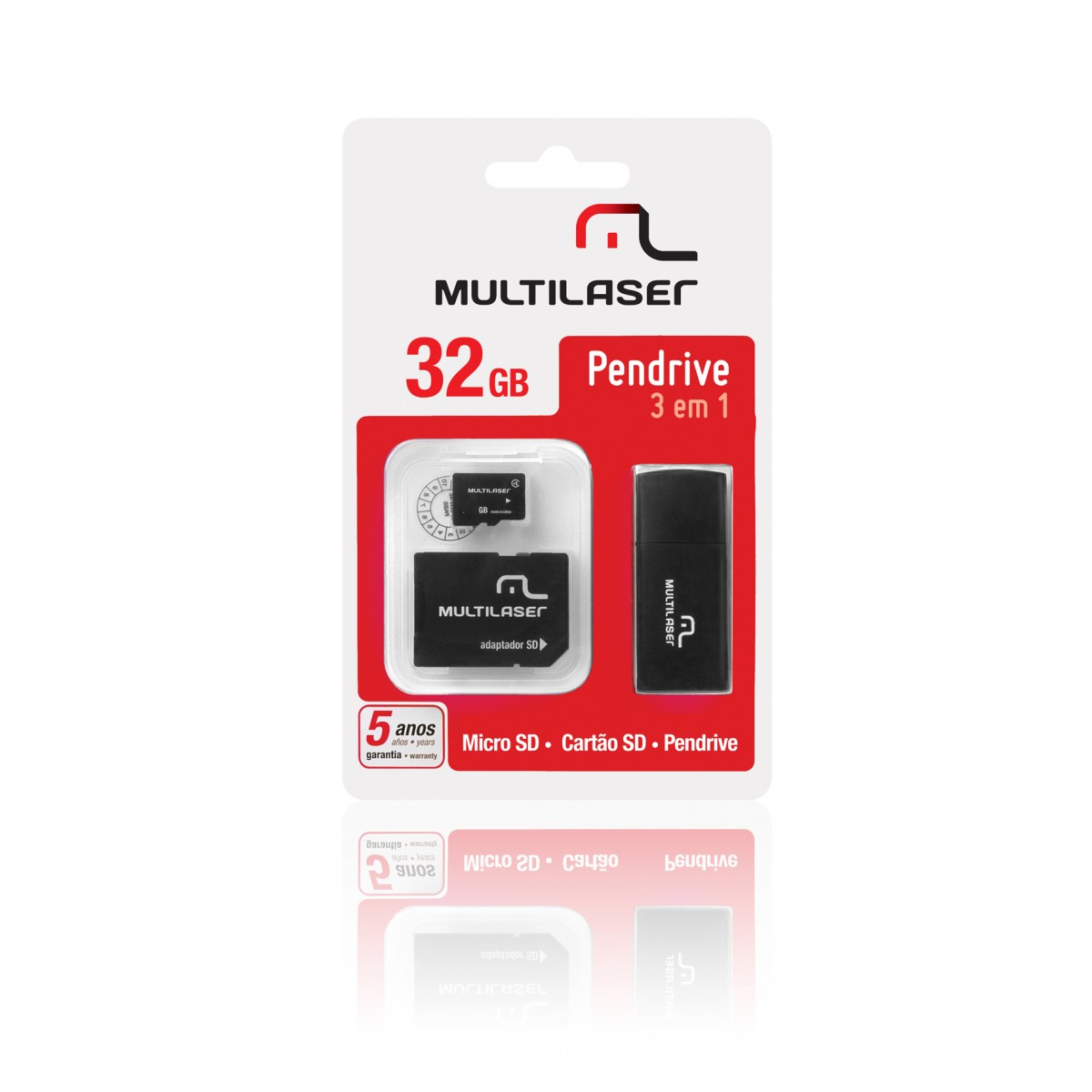 Cartao de Memoria 32GB Micro SD + Adaptador SD / USB MC060 - Multilaser
