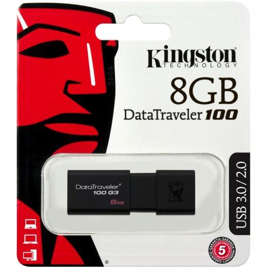 Pen Drive 8GB DT100G3/8GB USB 3.0 Preto - Kingston
