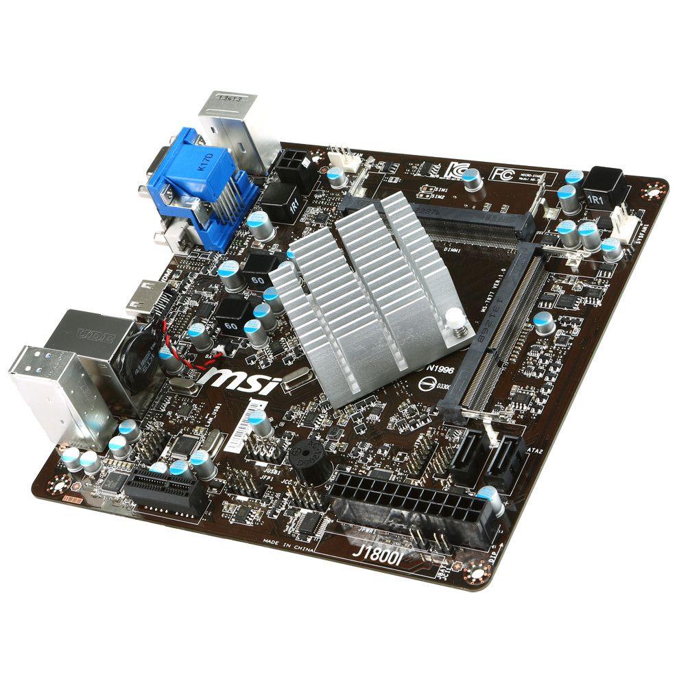 Placa Mãe ITX C/Processador Integrado Celeron Dual Core 2.4Ghz (S/V/R) J1800i Padrão de Memória de Notebook - MSI