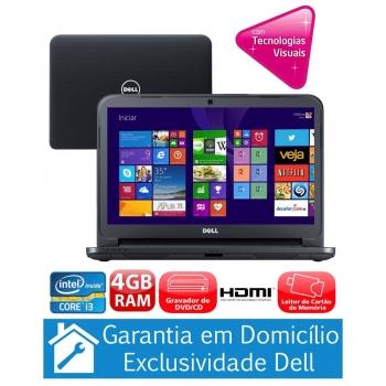 Notebook Inspiron I14-3421-A10 com Intel� Core i3-3217U, 4GB, 1TB, Gravador de DVD, Leitor de Cart�es, HDMI,Bluetooth,