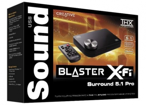 Placa de Som Externa Sound Blaster X-Fi 5.1 Pro Surround - 24-Bit / USB 2.0 SB1095 - Creative