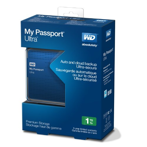 HD Externo 1TB Portátil My Passport Ultra USB 3.0 Azul WDBZFP0010BBL - Western Digital
