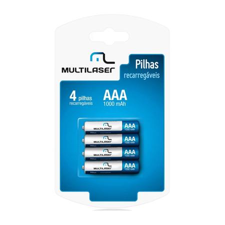 Pilha Recarreg�vel AAA 1000Mhz Blister C/4 Pilhas CB050 - Multilaser