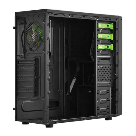 Gabinete Mid Tower FOX s/ Fonte c/ 01 Cooler LED Verde Frontal e 01 Cooler Traseiro 21499 - Pcyes