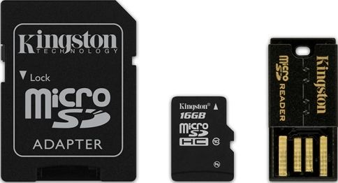 Cartão MicroSDHC 16GB Class 10 com Adaptador SD e USB (MBLY10G2/16GB) - Kingston