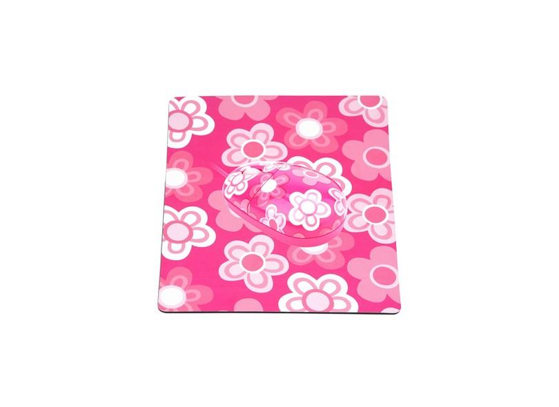 Mouse + mouse pad rosa/branco JT-0083 - Kolke