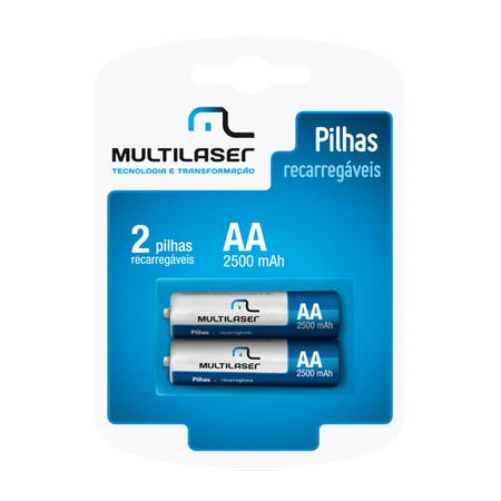 Pilha Recarregável AA 2500Mah C/2 Pilhas CB053 - Multilaser
