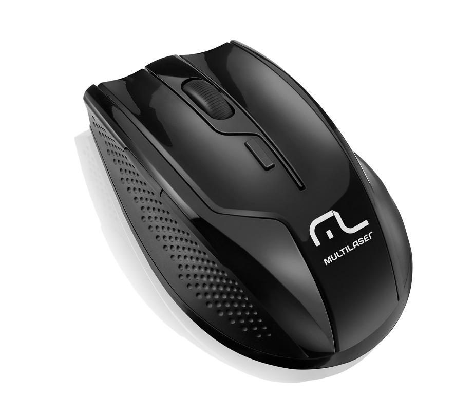 Mouse Sem Fio 2.4Ghz rapid 6 Botões 1600DPI Preto Piano MO165 - Multilaser