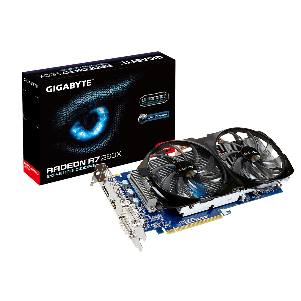 Placa de Vídeo ATI R7 260X 2GB DDR5 WINDFORCE 128Bits GV-R726XWF2-2GD - Gigabyte