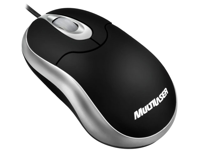 Mini Mouse Óptico Emborrachado Preto MO118 - Multilaser
