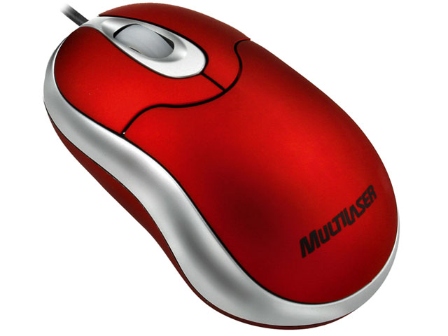 Mini Mouse �ptico USB Emborrachado Vermelho MO120 - Multilaser