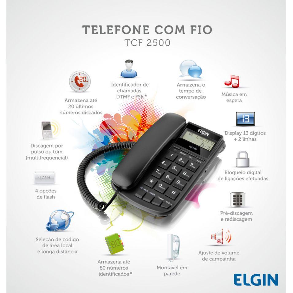 Telefone com Fio e Identificador de Chamadas TCF 2500 (42TCF2500000) - Elgin