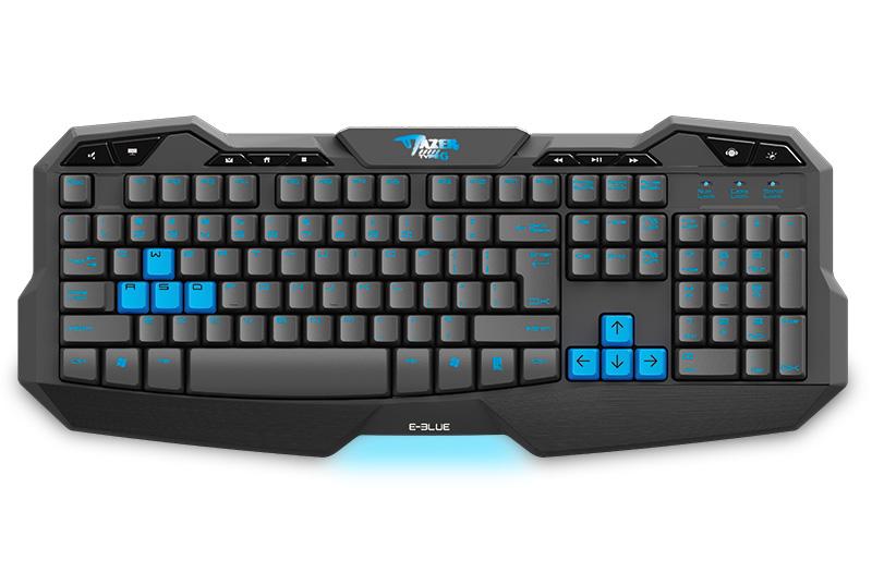 Teclado Gamer Mazer Type-G USB Preto/Azul - E-BLUE