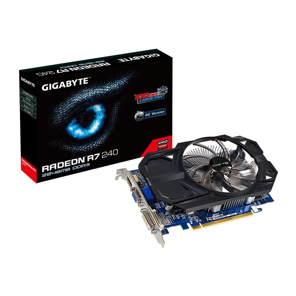 Placa de Vídeo ATI R7 240 2GB DDR3 OC 128Bits GV-R724OC-2GI Rev.2 - Gigabyte