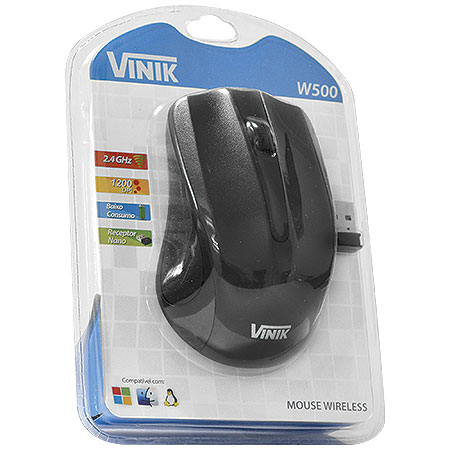 Mouse Óptico Wireless W500 - Vinik