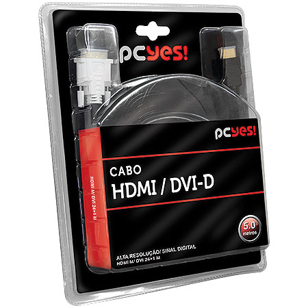 Cabo DVI-D DUAL LINK para HDMI 5 Metros 17845 - PCYES