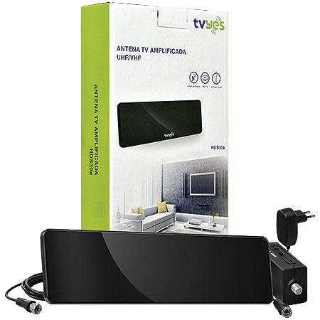 Antena para TV Amplificada HDS30A Preta - TVyes