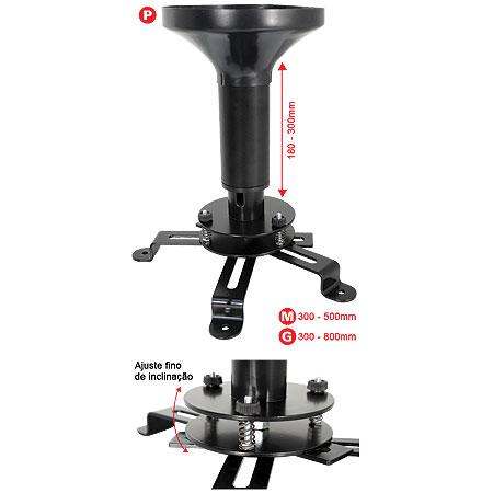 Suporte de Teto para Projetores com Inclinação e Regulagem de Altura de 180 a 300mm MULTI-PROJ-P-PR 7982 - Multivisão
