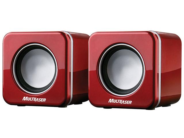 Caixa de Som Para Notebook USB Vermelho SP104 - Multilaser