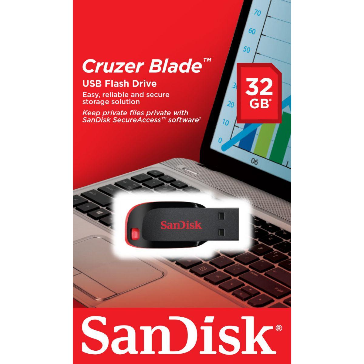 Pen Drive 32GB Cruzer Blade Preto/Vermelho SDCZ50-032G-B35 - Sandisk