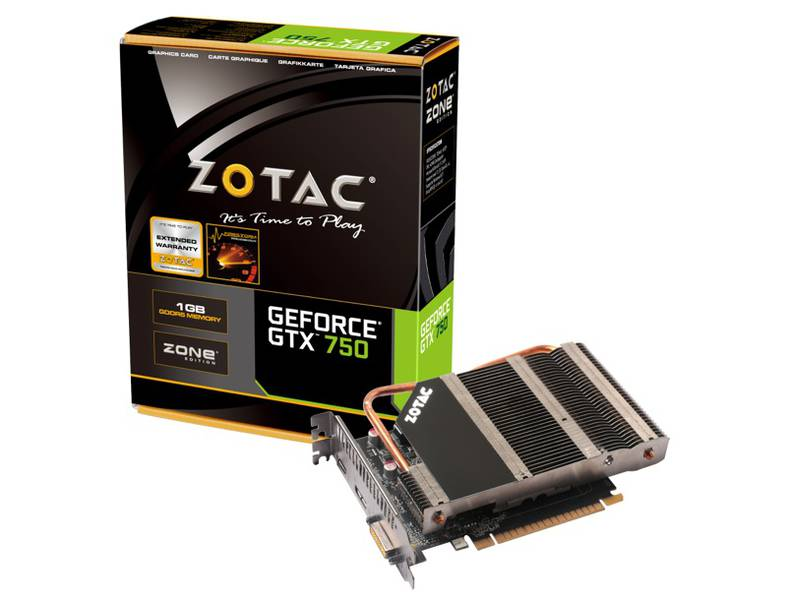 Placa de V�deo Geforce GTX750 1GB DDR5 128Bits Zone Edition ZT-70707-20M - Zotac