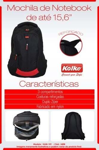 Mochila para Notebook 15.6 Preta KAM-101 517319/20 - Kolke