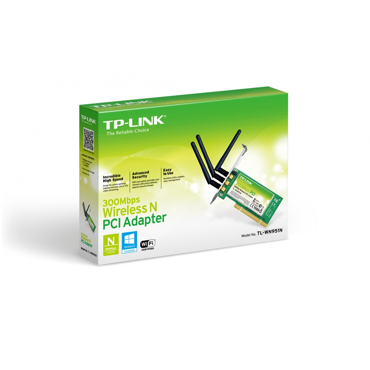 Placa de Rede PCI Wireless TL-WN951N (300Mbps) c/ 03 Antenas - Tplink